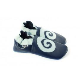 Chaussons cuir souple bleu marine