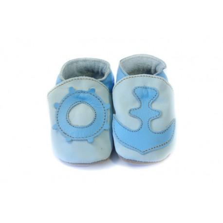 Chaussons cuir souple bleu clair avec décors marins