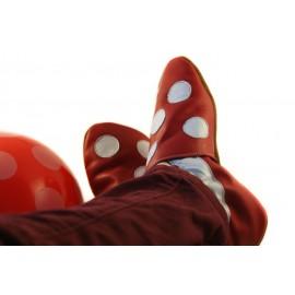 Rouge et blanc petits pois chaussons en cuir