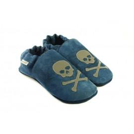 chaussons souples cuir bleu pirate gris