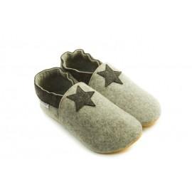 Laine mérinos naturelle chaussons confort gris clair