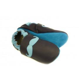 Chaussons cuir souple tendance moustache bleu 2 tons
