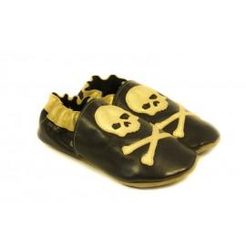Chaussons cuir souple noir, gold edition, Pirate doré