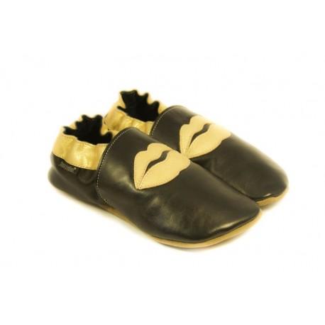 Chaussons cuir souple noir, gold edition, smack bisous doré