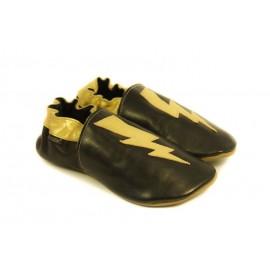 Chaussons cuir souple noir, gold edition, éclair doré
