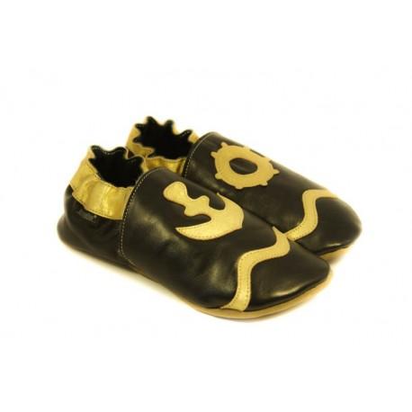 Chaussons cuir souple noir, gold edition, motif marin doré