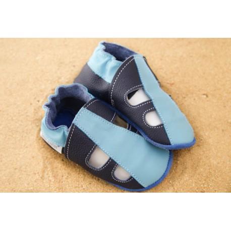 Chaussons d´été cuir souple bicolore bleu