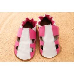 Chaussons été - rose et blanc