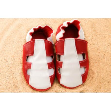 Chaussons d´été cuir souple bicolore rouge