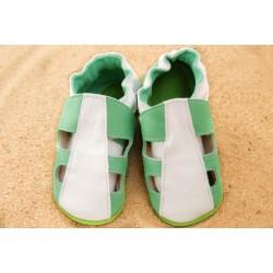 chaussons été - vert et blanc