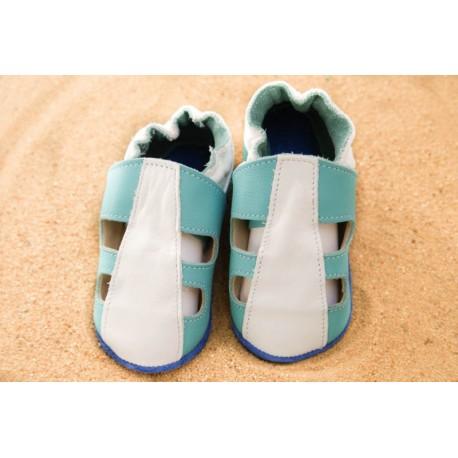 Chaussons d´été cuir souple bicolore bleu turquoise