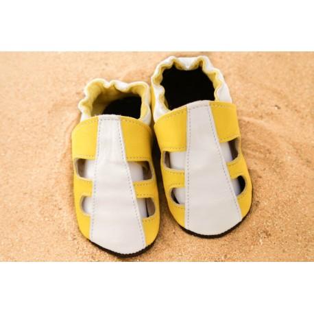 Chaussons d´été cuir souple bicolore jaune