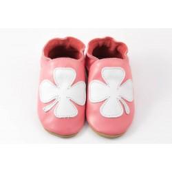 Chaussons cuir souple rose trefle fille porte bonheur