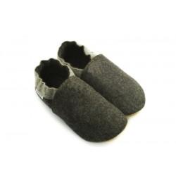 Laine mérinos naturelle chaussons confort gris anthracite 2 tons