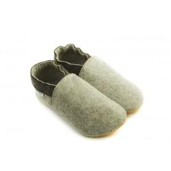 Laine mérinos naturelle chaussons confort gris clair 2 tons