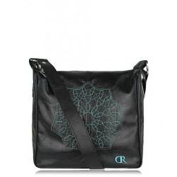 Sacs à main en cuir femme collection Martina noir & mandala turquoise