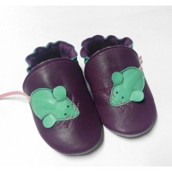 Chaussons cuir souple la souris verte