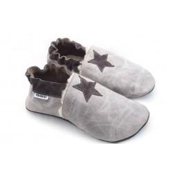 Chaussons cuir souple étoile garcons hommes