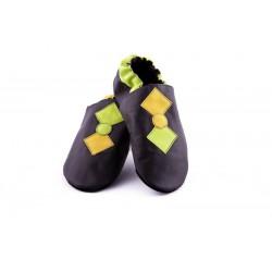 Chaussons cuir souple pop noir jaune vert homme garcons