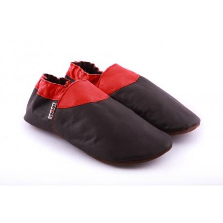 Chaussons cuir souple homme garcons noir et rouge