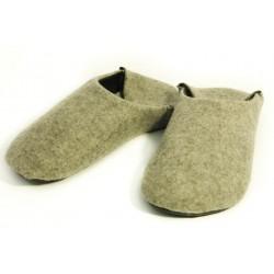 Babouches souples laine bouillie naturelle, grise