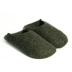 Babouches souples laine bouillie naturelle gris anthracite