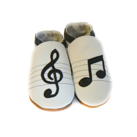 Chaussons cuir souple tendance musicale clef de sol et notes de musique