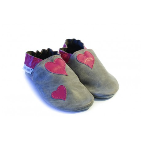 Petits coeurs rose chaussons souples en cuir fille