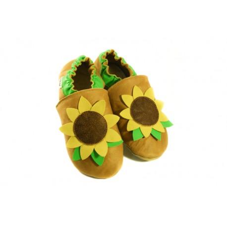 Fleur de tournesol chaussons cuir personnalisés