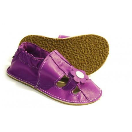 Chaussons fleur violette - semelles en gomme ou en cuir