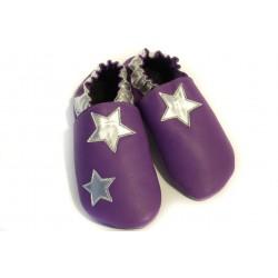 étoile argenté sur cuir violet