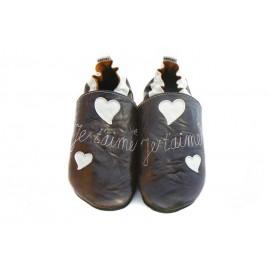 Message d´Amour sur chaussons en cuir