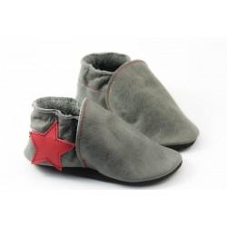 Chaussons cuir souple gris étoile rouge