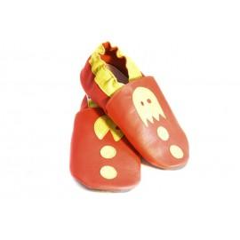 Chaussons cuir souple pac man rouge et jaune