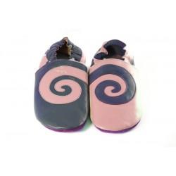 Spirale sur cuir rose et marine