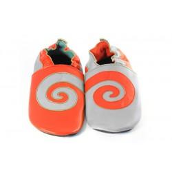 Spirale sur cuir orange et gris