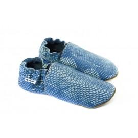 Chaussons souples cuir bleu imitation reptile