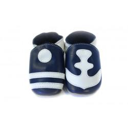 Chaussons cuir souple bleu avec décors marins
