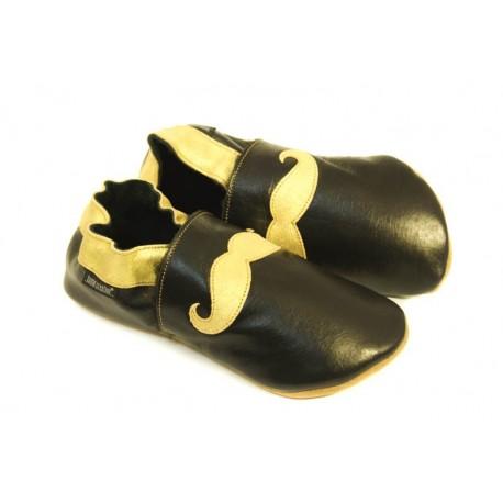 Chaussons cuir souple noir tendance moustache doré