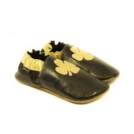 Chaussons cuir souple noir, gold edition, trèfle 4 feuilles doré