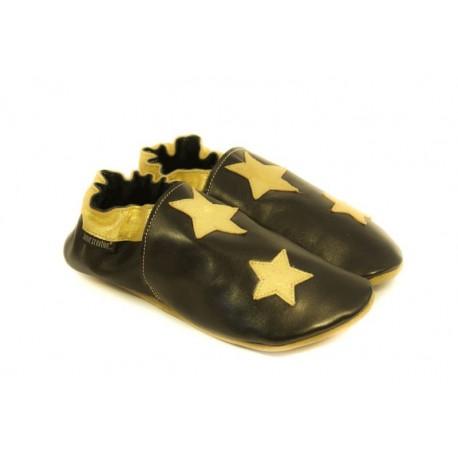 Chaussons cuir souple noir, gold edition, étoiles dorées