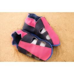 Chaussons d´été cuir souple bicolore rose et bleu