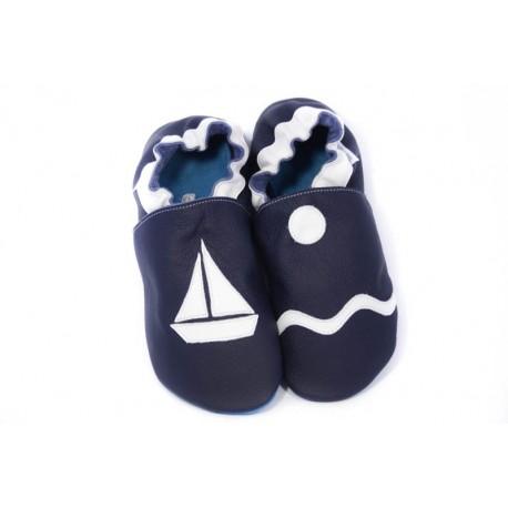 Chaussons cuir souple petit bateau bleu