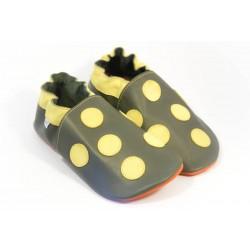 Chaussons cuir souple gris a pois jaune