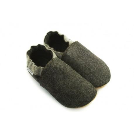 Chaussons laine mérinos gris anthracite