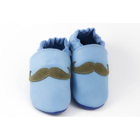 Chaussons cuir souple tendance moustache verte