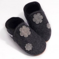 Capačky merino - kvety - tmavo šedé