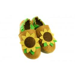 Fleur de tournesol - chaussons cuir