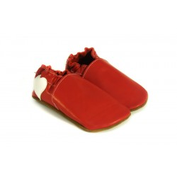 Chaussons cuir décors au talon rouge et blanc