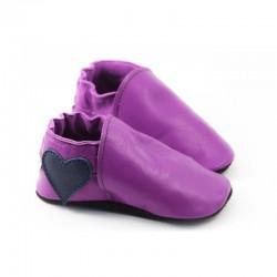 Coeur marine sur cuir violet